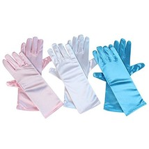 Girls Princess Gloves 3 Pack, Pink, Blue and White - $12.79