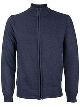 E-38 Italy Men's Slim Fit Luxury Wool Zip Up Pullover Hoodie Cardigan Sweater image 3