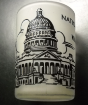 Hazel Atlas Shot Glass National Capitol at Washington DC Frosted Glass Black - $7.99