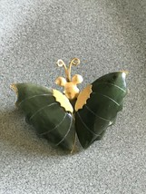 Vintage Small Goldtone Butterfly w Jade Green Stone Wings Brooch Pin – s... - $13.09