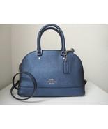 New Coach Mini Sierra Crossgrain Carryall Satchel Handbag Metallic Navy ... - $133.65