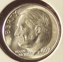 1959 Roosevelt Silver Dime MS65 #192 - $4.79