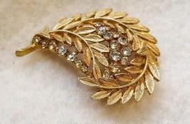 Vintage Autumn Leaves Brooch Pin Golden Rhinestones Fall Jewelry - $20.00