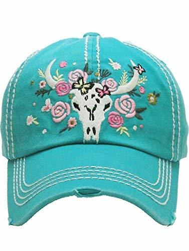 Distressed Country Western Cowgirl Longhorn Flowers Hat (Turquoise)