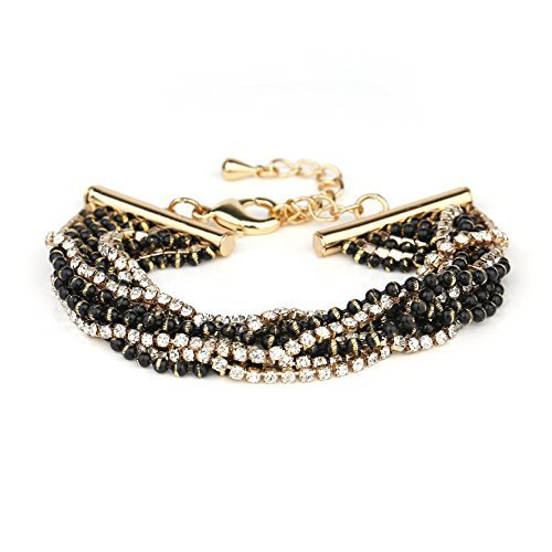 UE- Gold Tone Designer Bracelet With Black Overlay & Swarovski Style Crystals