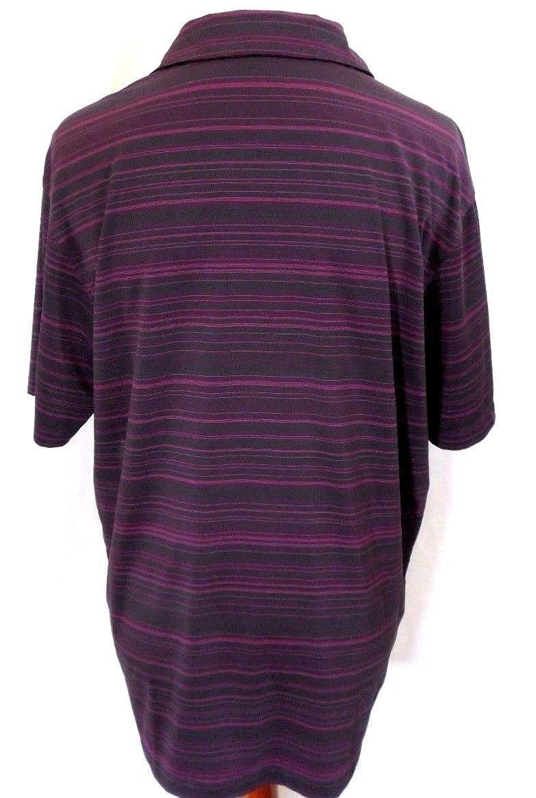 Vintage NIKE GOLF DRI-FIT Men's XL Charcoal Gray & Purple Striped Polo Shirt