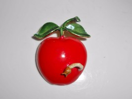 Apple Enamel Brooch Pin Original By Robert Vintage Red Worm Leaves - $19.00