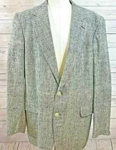 Savile Row Mens Size 44 L Sport Coat 2 button Single Vent Black Gray Her... - $39.59