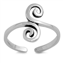 Spiral Design Women's Adjustable Toe Ring White Gold Plated 925 Sterling... - $9.99
