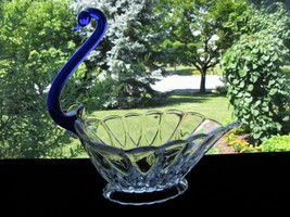New Martinsville JANICE Cobalt Neck Swan Centerpiece - $45.00