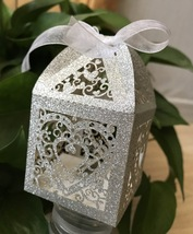 100pcs Glitter Silver Packaging Boxes,Laser Cut Wedding Favor Boxes,Gift Boxes - $48.00