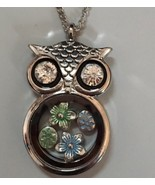 Owl Necklace Floating Flower Charms Pendant Gift Necklace Jewelry - $18.99