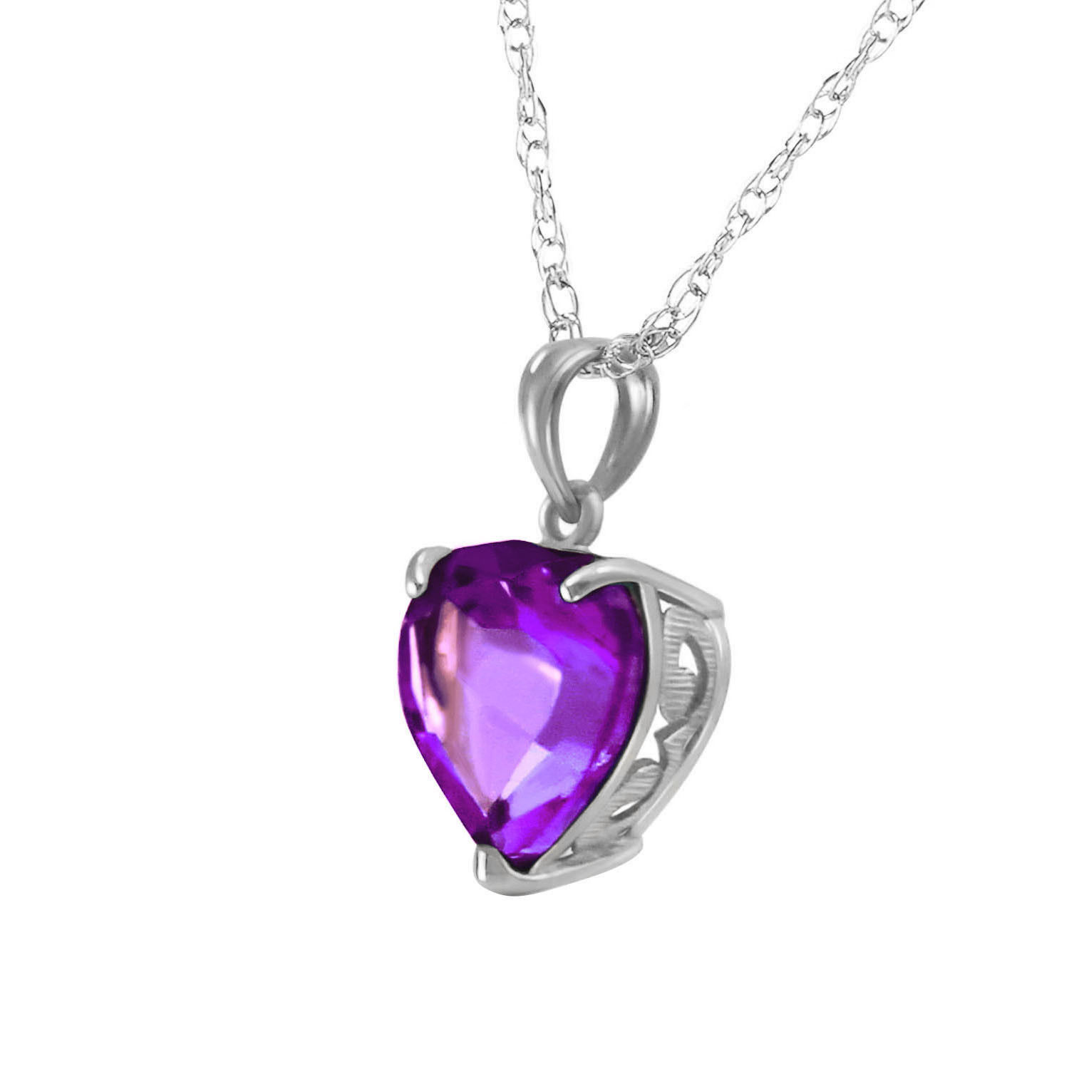 14k solid white gold necklace with natural 10mm heart