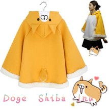 Harajuku Shiba Inu Doge Muco Cloak Cute Ear Warm Hoodies Fleece Cape Coat - $18.70