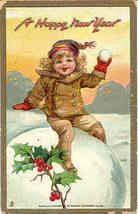 A  Happy New Year vintage 1914  Post Card - $6.00
