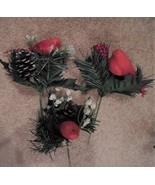 9 Christmas tree floral pick, Christmas tree pick, flocked birds tree de... - $25.00