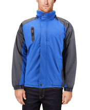 Men's Quilted Lined Removable Hood Two Toned Zipper Puffer Lightweight Jacket image 4