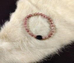 Rhodonite Stretch Bracelet, Black Stone Bead, Natural Pink Gemstone Beads - $15.00
