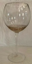 "Clear Wine Glass Goblet w/ Raised Gold Swirls At Base Tall 9"" x 3.5"" - $13.85"