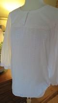 Charter Club Women's White Cotton Lace  Peasant Top 10 - $12.86