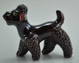 Vintage Redware Brown Lustre Glaze French Poodle Figurine       - $8.00