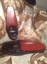 Women's Talbots Brown Leather Slip On Double Buckle Mules Size 7B Shoes Mrsp $88 - $29.69