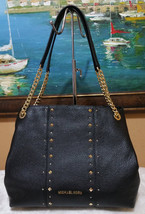 Michael Kors Black Jet Set Chain Shoulder Bag Leather Purse Stud Raven Nwt - $143.55