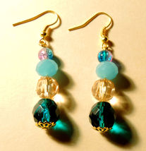 Blue & Pink Glass Beaded Dangle Earrings Gold Plated - $14.00