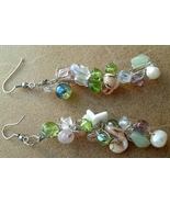 Crochet Wire Earrings With Crystals Shells and Glass Beads Hand Made In USA - $29.99