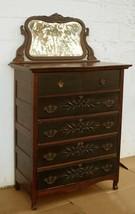 Antique Vintage SOLID Wood Wooden Dresser Highboy Chest Vanity Beveled M... - $379.99