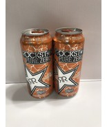 Rockstar Energy Drink Pure Zero Orange Mandarin 16oz Cans Lot. Total 2 Cans - $8.99