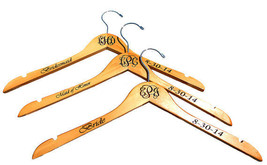 Wedding Party Gift Monogrammed Personalized Maple Wooden Dress Hanger - $8.83+