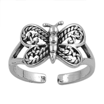 Women's Butterfly Adjustable Toe Ring 14k White Gold Plated 925 Sterling... - $9.99