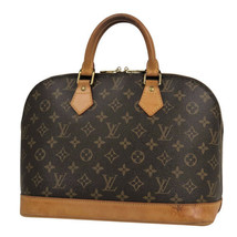 Auth Louis Vuitton Monogram Hand Bag Brown Alma Leather Zipper Logo LVB0675 - $480.15