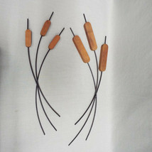 """Pair of Wood & Metal Cattails Wall Hangings decor Home Interiors 18-20"""" ... - $17.10"""