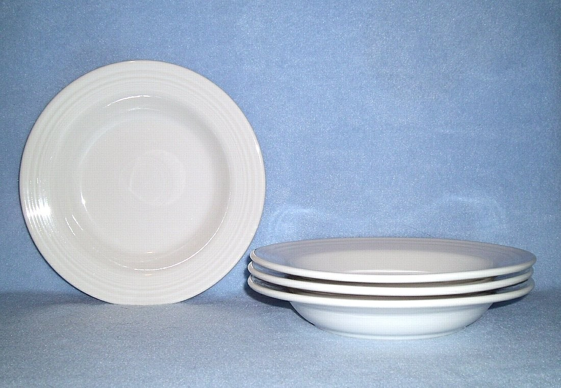 Homer Laughlin FIESTA White 4 Rimmed Soup Bowls - $17.99