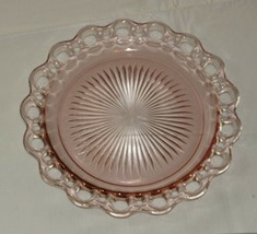 "Vintage pink depression glass serving plate with open lace edge 10.25"" RARE - $21.36"