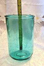 Vintage Unusual Dark Aqual Blue Glass Vase - See Pictures for better Description image 6