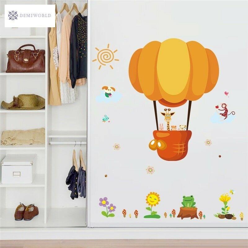 Home Decorat: Cartoon Hot Air Balloon Animal Wall Stickers For Kids