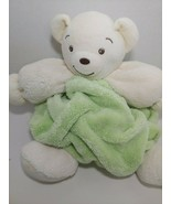 Kaloo Plume plush round chubby Teddy Bear cream green baby toy stuffed a... - $29.69