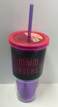 "Novelty Reusable 20oz ""Mom Rocks"" Printed Cup W/Straw, Free Shipping - $8.91"