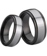 Tungsten Carbide Couple Wedding Band Ring - Silver Black Color - Price f... - $39.99