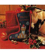 Cross Stitch Tabby Kitten Christmas Stocking Framed Cat In Window Pillow... - $8.99