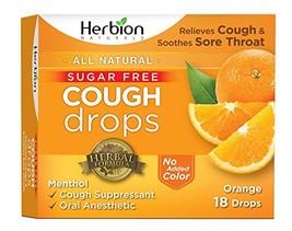 Herbion Naturals Sugar-Free Cough Drops with Natural Orange Flavor, 18 D... - $7.02