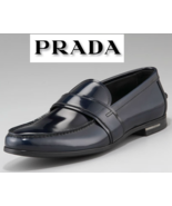 $620 PRADA LOGO SPAZZOLATO NAVY BLUE PATENT LEATHER LOAFERS DRIVERS SHOES *NEW* - $523.00