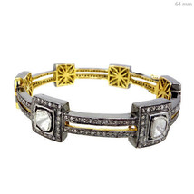 RoseCut Diamond 3.95ct Pave 14k Gold Bangle Sterling Silver Look Antique... - $1,666.61