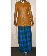 vintage leather coat jacket bright orange long maxi size extra small xs ... - $24.74