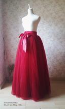 BURGUNDY Maxi Tulle Skirt Women Tulle Puffy Skirt Burgundy Wine Red Wedding Tutu image 6