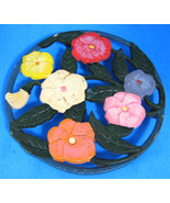 Vintage English Cast Iron Trivet Cold Painted Flowers With Tag 1970s RSW... - $16.00