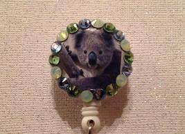 Koala Bear Badge Reel Id Holder Swarovski Crystals Belt Clip New Handmad... - $10.99